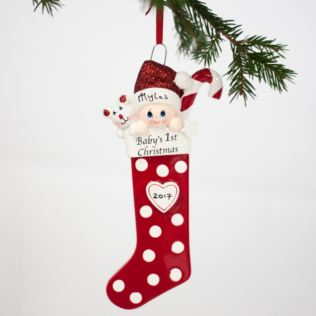 Personalised Baby's 1st Christmas Long Stocking Hanging Ornament Product Image