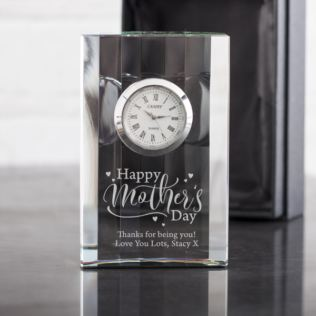 Personalised Happy Mother's Day Crystal Mantel Clock Product Image