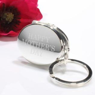 Personalised Happy Mother's Day Silver Oval Photo Locket Keyring Product Image