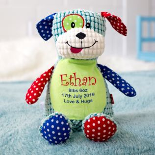 Personalised Embroidered Cubbies Harlequin Dog Soft Toy Product Image