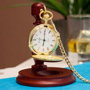 Personalised Gold Plated Pocket Watch With Stand Product Image