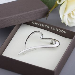 Open Heart Brooch in Personalised Gift Box Product Image