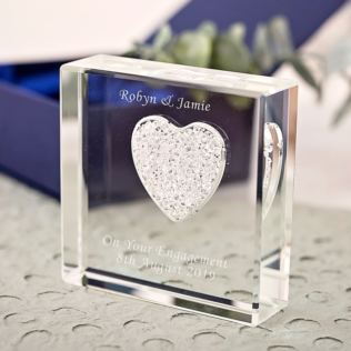 Personalised Glass Paperweight With White Diamante Heart Product Image
