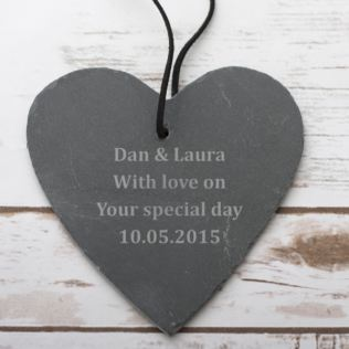 Personalised Small Hanging Slate Heart Product Image