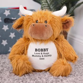Personalised Embroidered Cuddly Highland Cow Product Image