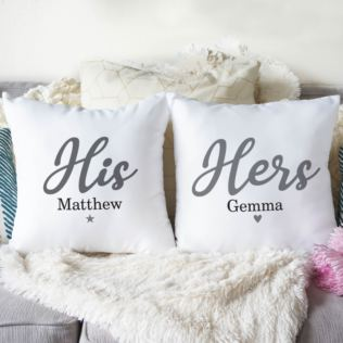 Personalised Pair Of His & Hers Cushions Product Image