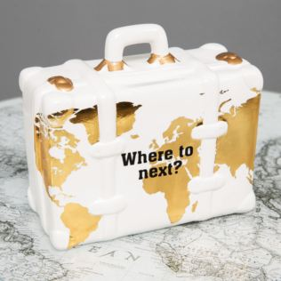White Ceramic World Map Suitcase Money Box Product Image