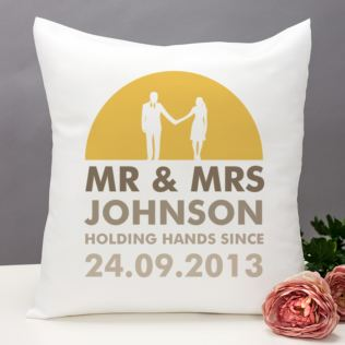 Personalised Mr and Mrs Holding Hands Cushion Product Image