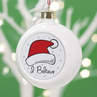 Personalised I Believe in Santa Christmas Bauble Product Image