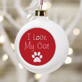I Love My Cat Personalised Christmas Bauble Product Image