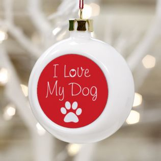 I Love My Dog Personalised Christmas Bauble Product Image