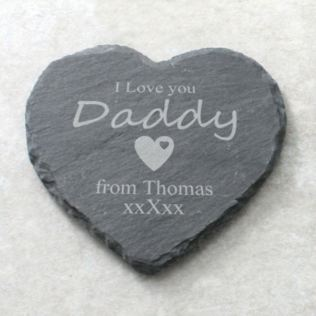 I Love You Daddy Personalised Heart Shaped Slate Coaster Product Image