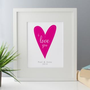 I Love You Personalised Framed Print - Pink Product Image