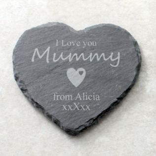 I Love You Mummy Personalised Heart Shaped Slate Coaster Product Image
