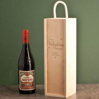 Personalised Valentines Day Wooden Wine Box Product Image