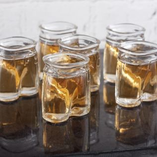 Set of 6 Clear Glass Man's Pants Shot Glasses Product Image