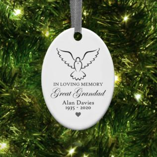 Personalised In Loving Memory Oval Hanging Ornament Product Image