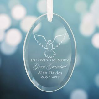 Personalised In Loving Memory Oval Hanging Glass Ornament Product Image
