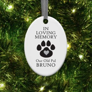 Personalised In Loving Memory Pet Oval Hanging Ornament Product Image