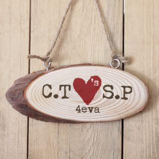 Personalised Tree Carving Wooden Hanging Plaque Product Image