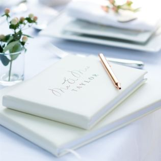 Personalised Mr & Mrs Wedding Ivory Leather Guest Book Product Image