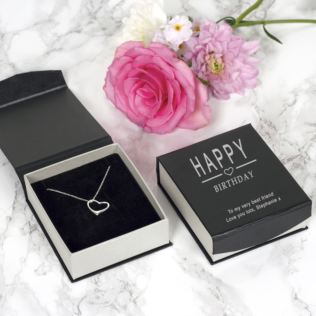 Happy Birthday Heart Pendant and Chain in Personalised Box Product Image