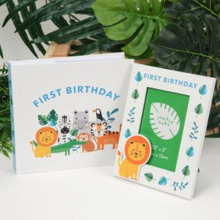 Jungle Design First Birthday Photo Album And Frame Product Image