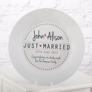 Personalised Just Married Wedding Plate Product Image
