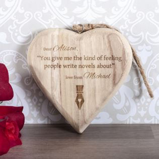Personalised Kind Of Feeling Wooden Hanging Heart Product Image