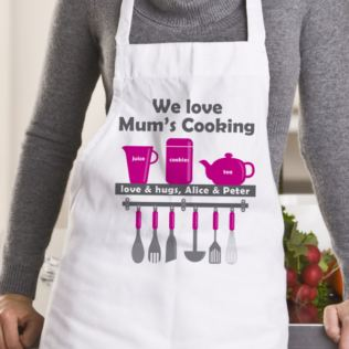 We Love Mum's Cooking Personalised Apron Product Image
