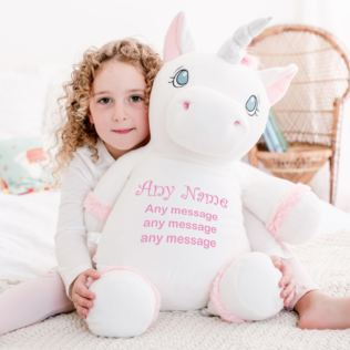 Personalised Embroidered Cubbies Jumbo Unicorn Soft Toy Product Image