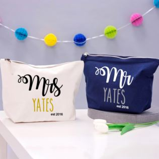 Pair of Personalised Mr and Mrs Washbags Product Image