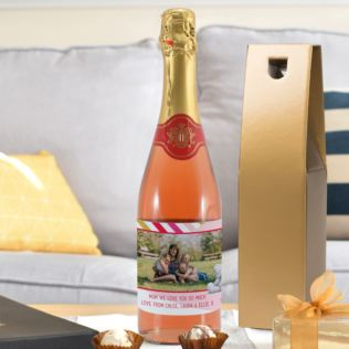 Personalised Me To You Striped Photo Upload Sparkling Rosé Product Image