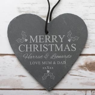 Personalised Merry Christmas Slate Hanging Heart Product Image