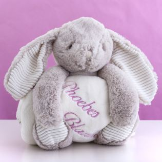 Cream Cuddly Rabbit With Personalised Embroidered Blanket Product Image