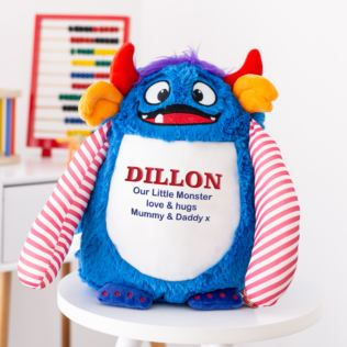 Personalised Embroidered Cubbies Blue Monster Soft Toy Product Image