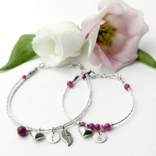 Mother & Daughter Personalised Bracelet With Indian Ruby Stones Product Image