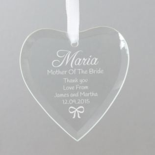 Personalised Mother Of The Bride Hanging Glass Heart Product Image