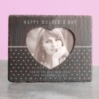 Mother's Day Engraved Heart Slate Photo Frame Product Image