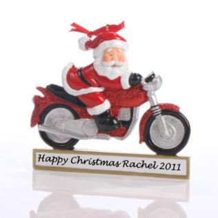 Santa on a Motorcycle Ornament Product Image