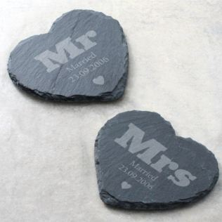 Pair of Mr & Mrs Personalised Slate Coasters Product Image