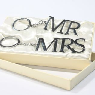 Mr & Mrs Silver Plated Keyrings Product Image
