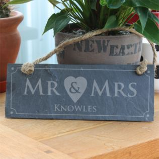 Personalised Mr & Mrs Slate Plaque Product Image