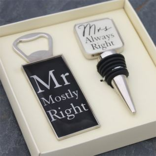 Mr & Mrs Bottle Opener and Stopper Set Product Image