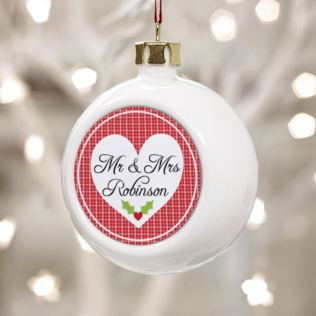 Mr & Mrs Personalised Christmas Bauble Product Image