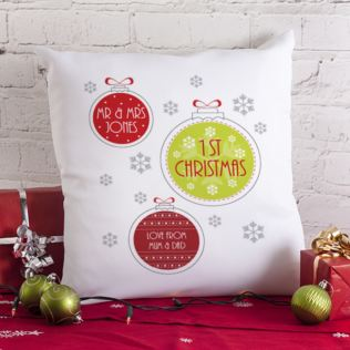 Personalised Mr & Mrs 1st Christmas Cushion Product Image
