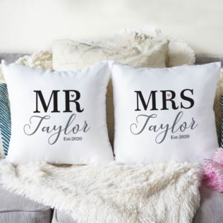 Personalised Pair Of Mr & Mrs Cushions Product Image