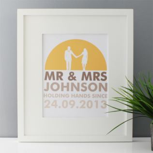 Personalised Mr & Mrs Holding Hands Framed Print Product Image