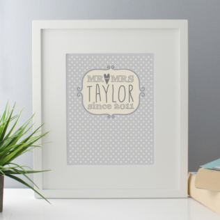 Mr & Mrs Polka Dot Personalised Print Product Image