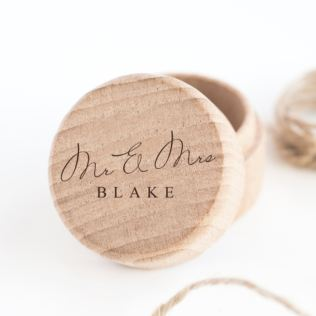 Personalised Mr & Mrs Wooden Ring Box Product Image